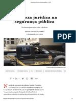 Natureza Jurídica Na Segurança Pública - JOTA
