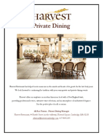 Harvest Private Dining Information