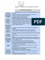 instructional priorities chart with critical actions for educators