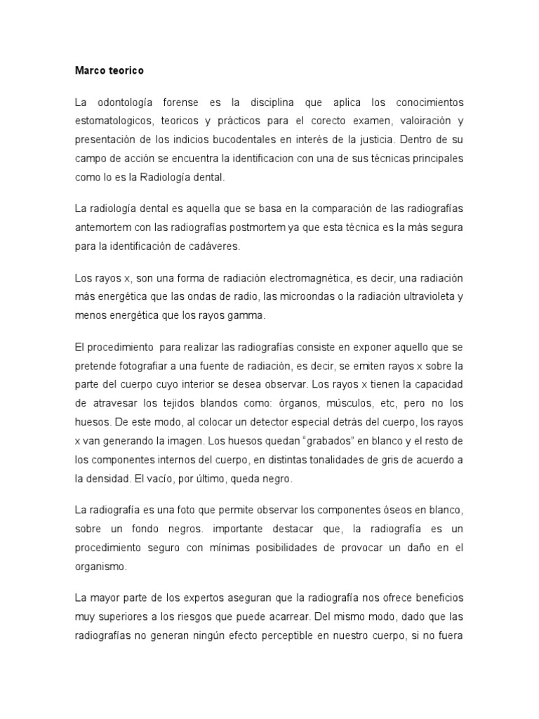 Marco Teorico Odonto Radiografia