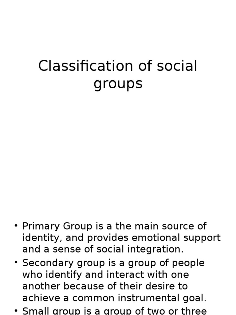Classification of social groups