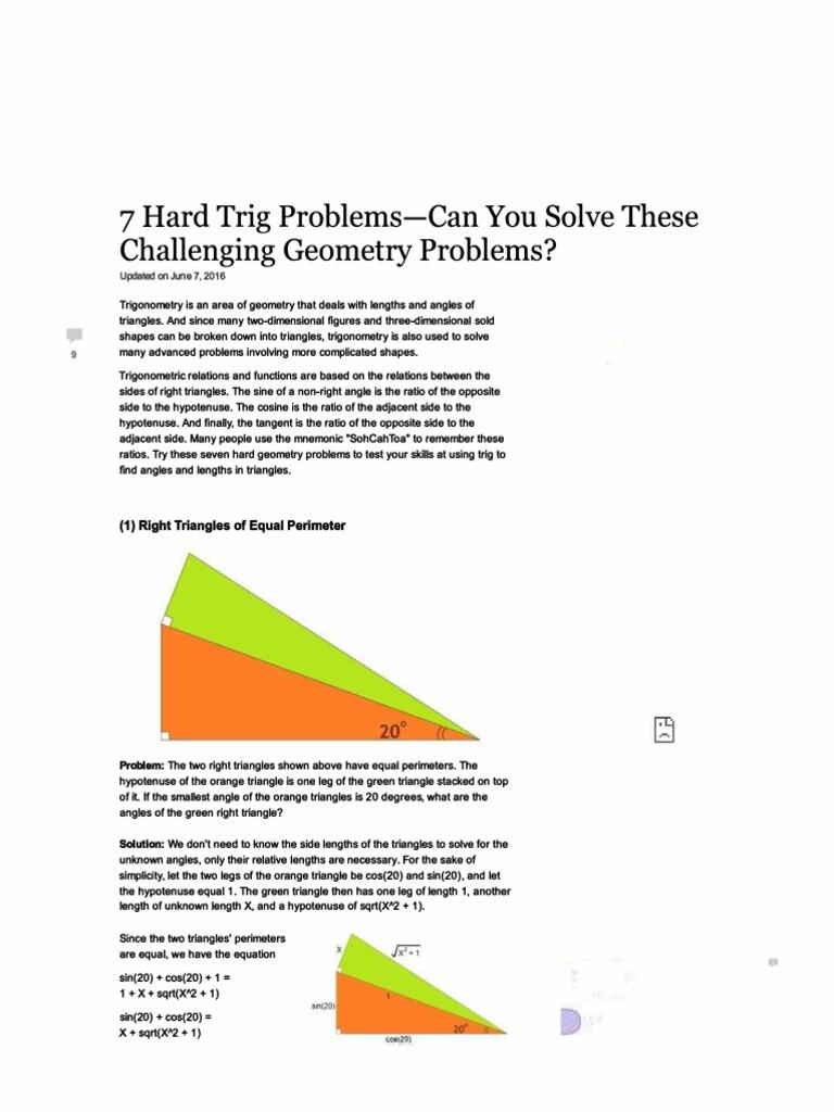 7 Hard Trig Problems   Trigonometry   Triangle