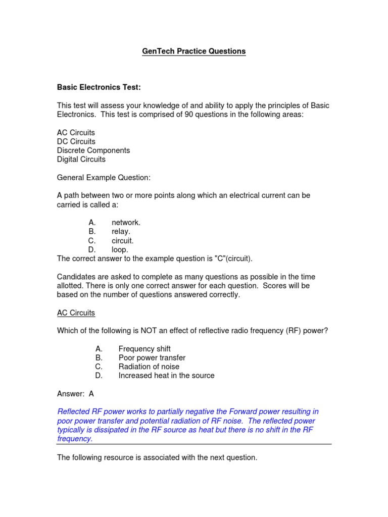 Gentech Practice Questions | Electronic Circuits | P–N Junction