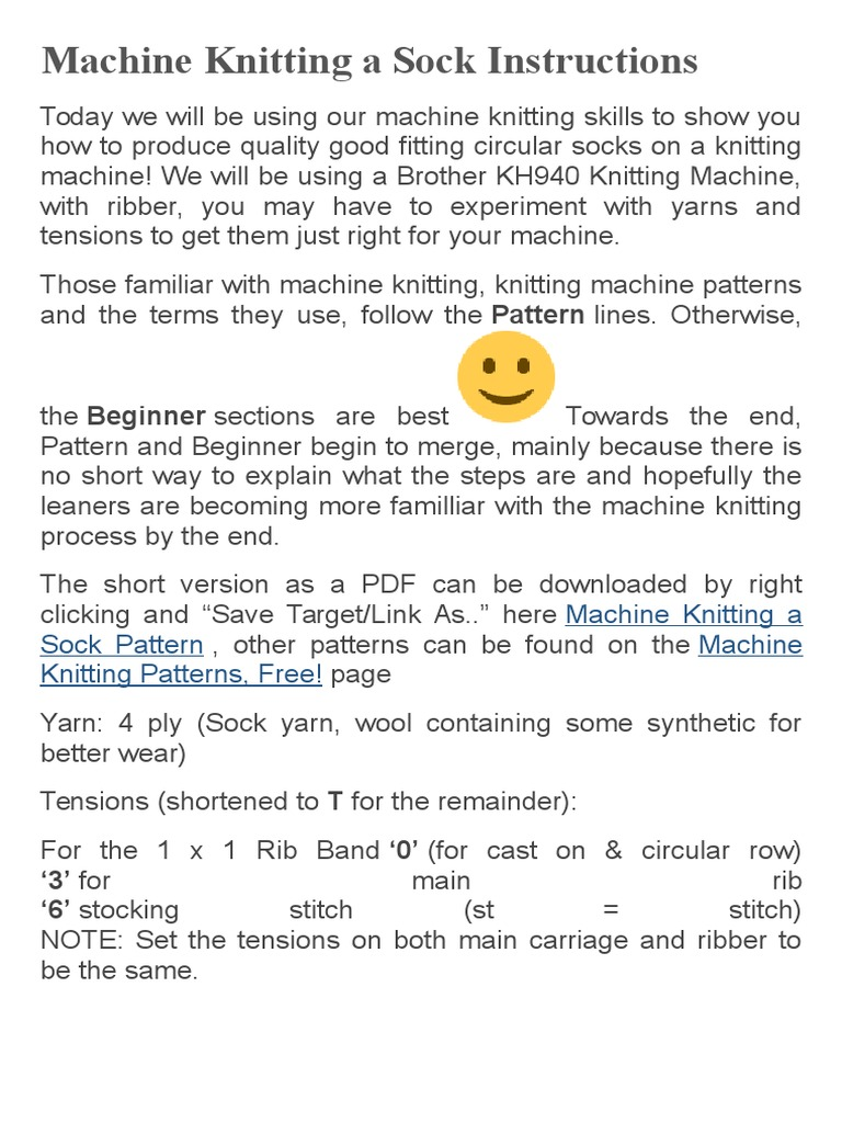 Machine Knitting a Sock Instructions | Knitting | Yarn