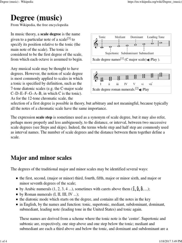 Degree Music   Wikipedia   PDF   Scale Music   Mode Music