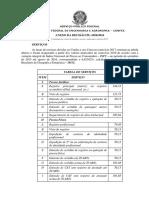 Taxas de serviço - CREA/TO