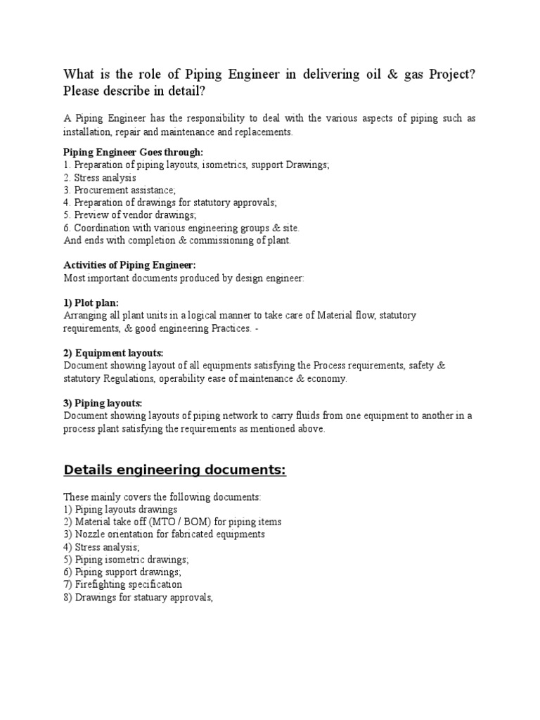 Role of Piping Engineer | Specification (Technical Standard) | Pipe (Fluid  Conveyance)