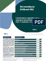 Recomendação IGSBrasil 002 12014 Características Requeridas Para o Emprego de Geossintéticos Parte 1 Geotêxteis e Produtos Correlatos