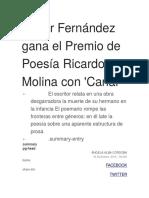 Javier Fernández gana el Premio de Poesía Ricardo Molina con