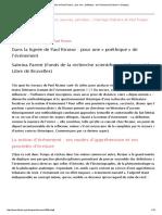 Dans La Lignée de Paul Ricœur_ Pour Une «Poéthique» de l'Événement (Fabula _ Colloques)