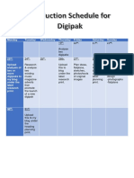 Production Schedule for Digipak