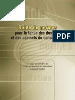 Guide de normes pour la tenue des dossiers et des cabinets de consultation