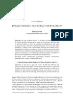 Totalitarismo, filosofía y biopolítica Simona Forti Universidad del Piamonte Oriental