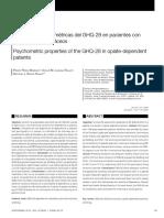 Propiedades Psicométricas Del GHQ-28 en Pacientes Con Opiaceas