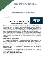 AUDICIONES DE LA ORQUESTA SINFÓNICA JUVENIL DE LA UAAUAZ. AGOSTO 2016