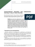 Communitarian education and mathematics learning