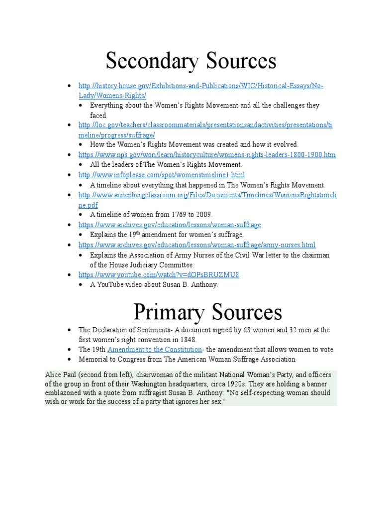 Secondary And Primary Sources 2 Women S Suffrage Women