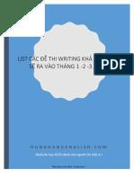 BỘ ĐỀ WRITING KHẢ NĂNG CAO SẼ RA VÀO QUÝ I – 2017