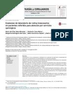 Exámenes de Laboratorio de Rutina Innecesarios en Pacientes Referidos Para Atención Por Servicios Quirúrgicos