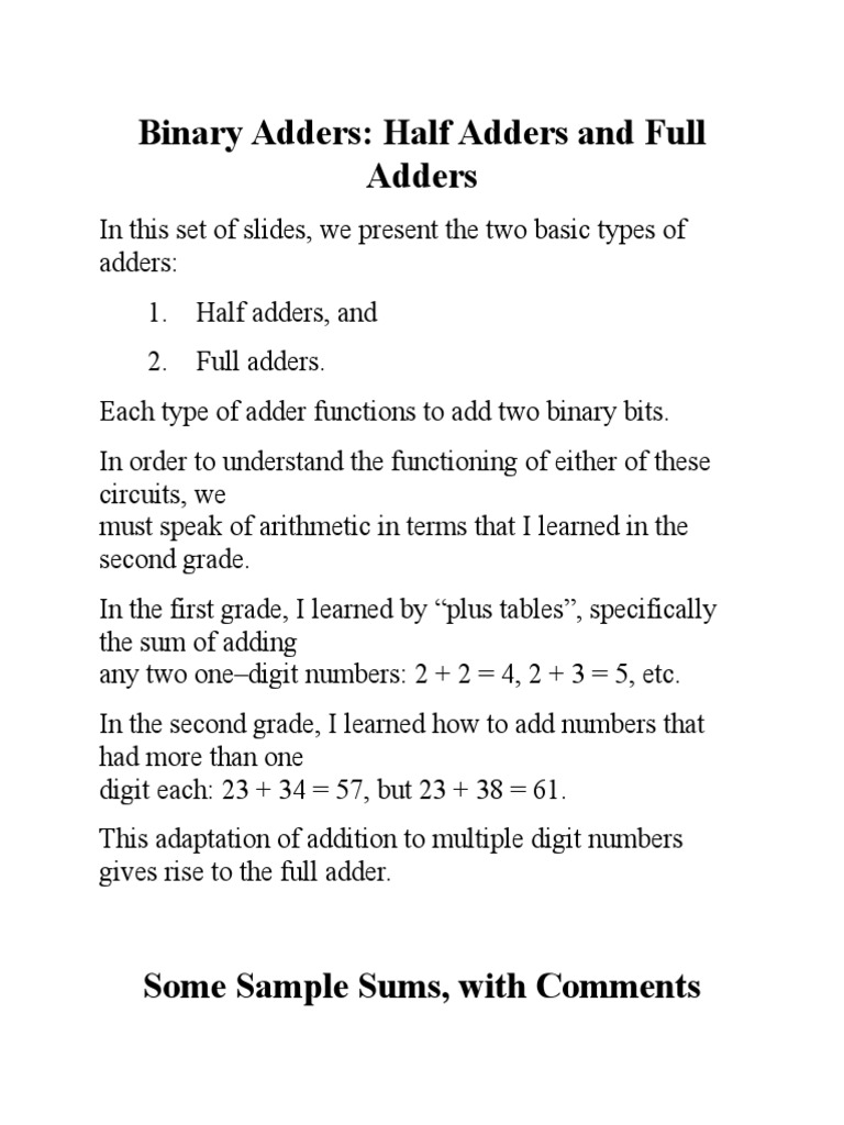 An Micro Teaching Adder Mathematical Notation Numbers Binary And Addition Using Exor Gates