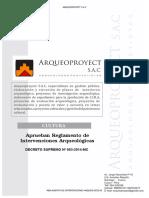Reglamento de Intervenciones Arqueologicas RS. 0003-2014-Arqueoproyect