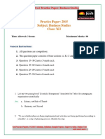 CBSE  Class 12th Business Studies Solved Practice Paper 2015
