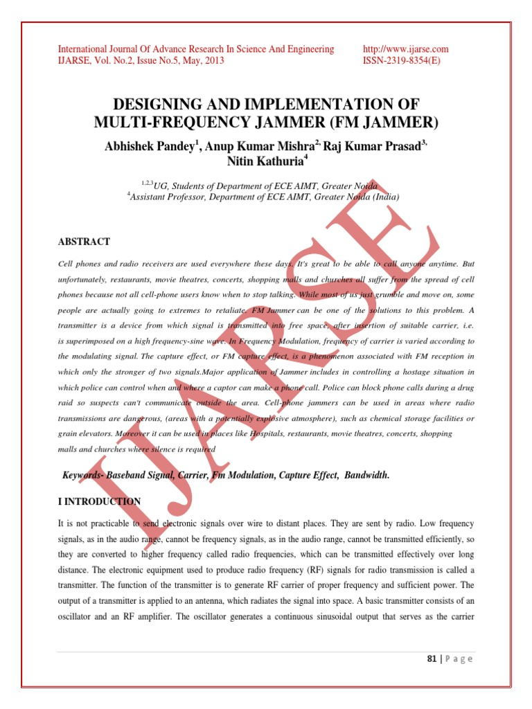 1368199051 Designing And Implementation Of Multi Frequency Jammer Fm Radio Transmitter Amplifier