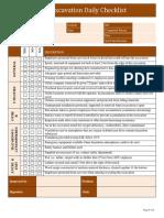 Excavation Daily Checklist