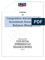 Competitive advantage of Investment Avenue in Reliance Money-A Mathematical View