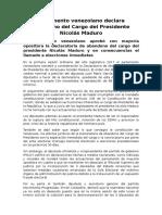 Parlamento Venezolano Declara Abandono Del Cargo Del Presidente Nicolás Maduro