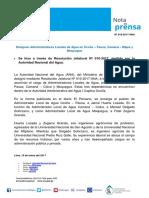 Nota de Prensa Nº 018-2017