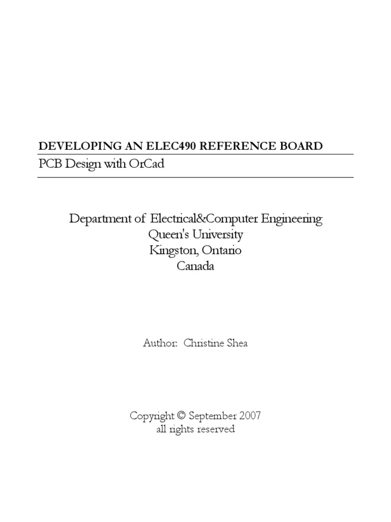 Queens Orcad Tutorial Printed Circuit Board Computer Engineering