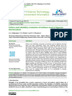 Failure and Reliability Evaluation of Turbines Used in Nigerian Thermal Plant