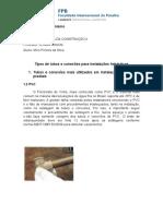 Tipos de Tubos e Conexões Para Instalações Hidráulicas