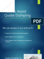 how to avoid quote dumping