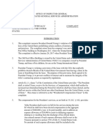 Corruption Complaint Filed With Inspector General of the GSA against President Trump