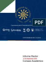 Informe rector al consejo Académico 27 de Septiembre 2016