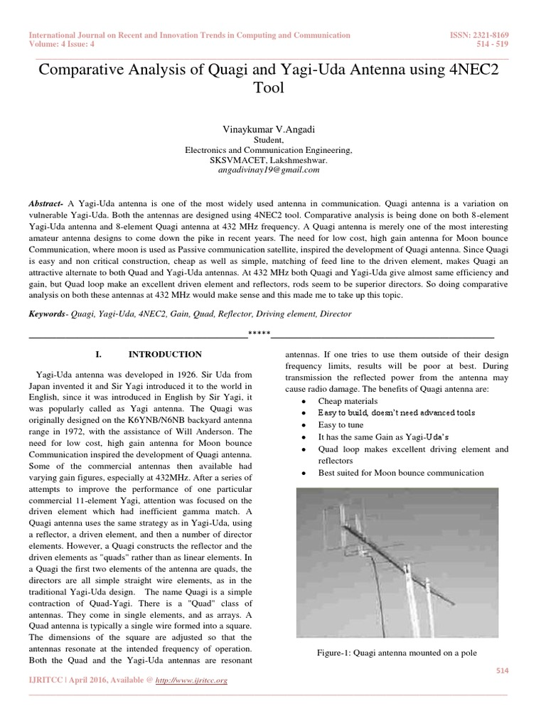 Comparative Analysis of Quagi and Yagi-Uda Antenna using 4NEC2 Tool