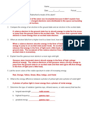 Atomic Spectra Worksheet Answer Key 05-06.doc ...