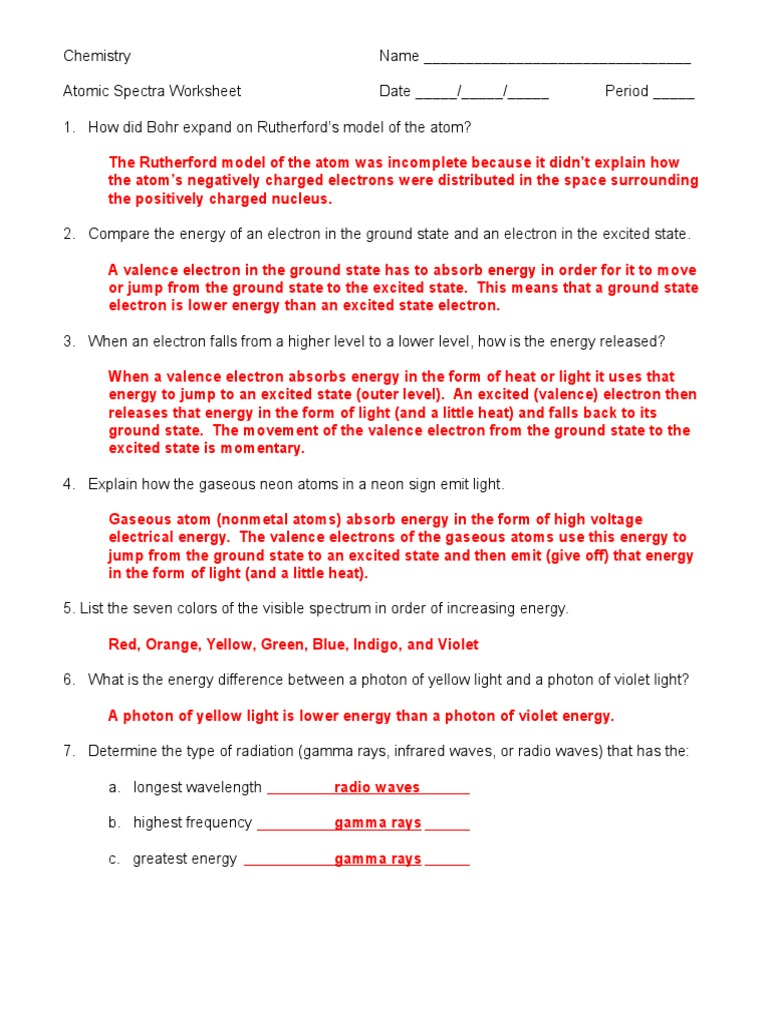 atomic spectra worksheet answer key 05 electromagnetic radiation ultraviolet. Black Bedroom Furniture Sets. Home Design Ideas