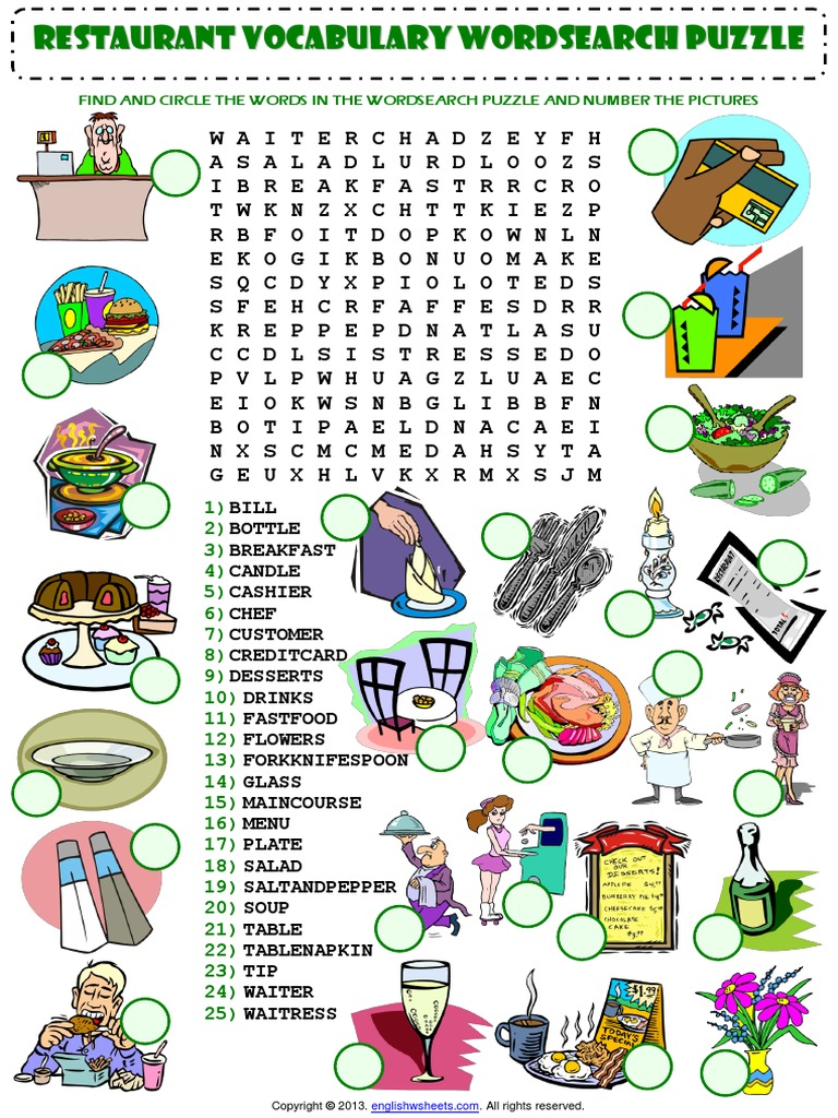 At the Restaurant Wordsearch Puzzle Vocabulary Worksheet