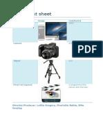 equipment sheet