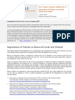 Car Taxation Customer Bulletin No. 8 Importation of Vehicles as Removal Goods into Finland