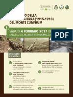 locandina di presentazione del percorso tematico grande guerra sul monte hum, grimacco 4/2/2017 h. 11