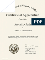 Aunali Khaku Appreciation My VA Ambassador 101 program honors