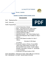 Sample Alumni Homecoming Program
