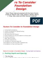 Factors to Consider in Foundation Design