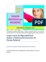 Cómo Curar La Hiperhidrosis Axilar y Sudoración Excesiva de Forma Natural