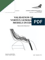 Validation of Vortex Generator Models in Edge