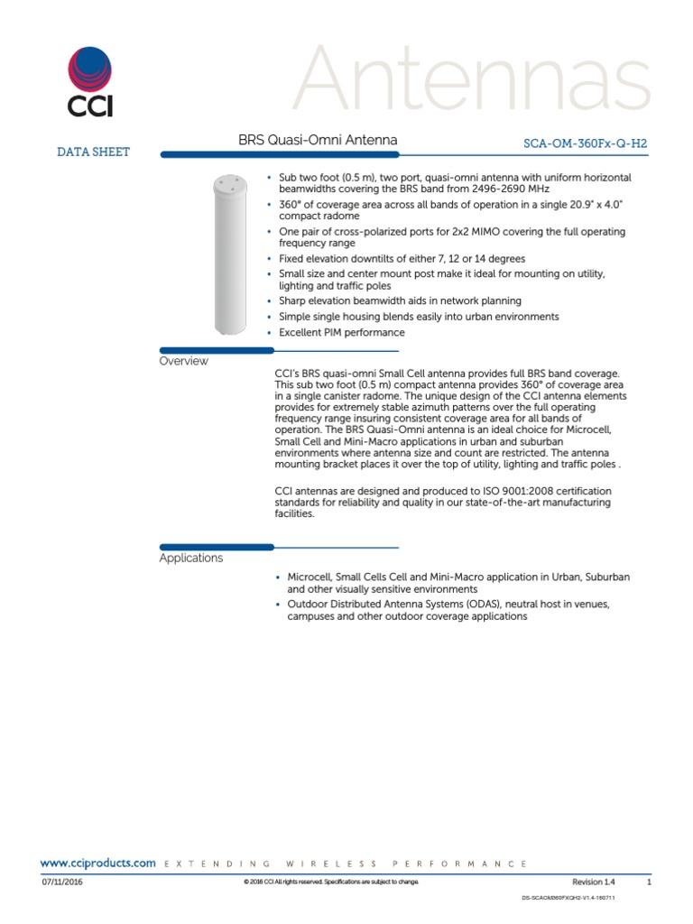 Cci Sca Om 360f7 Q H2 K Decibel International Electrotechnical